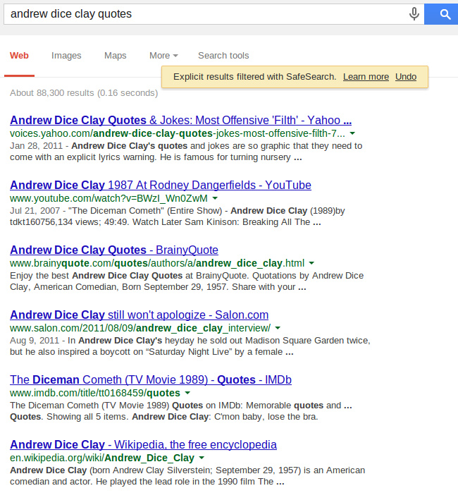 Google SafeSearch, andrew dice clay quotes