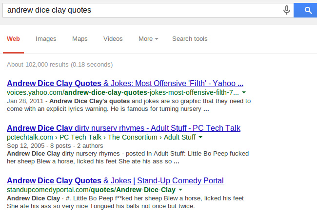 Google Search, andrew dice clay quotes