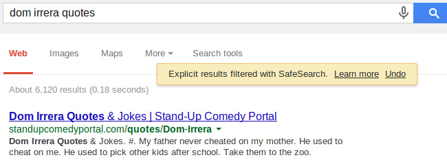 Google SafeSearch, dom irrera quotes