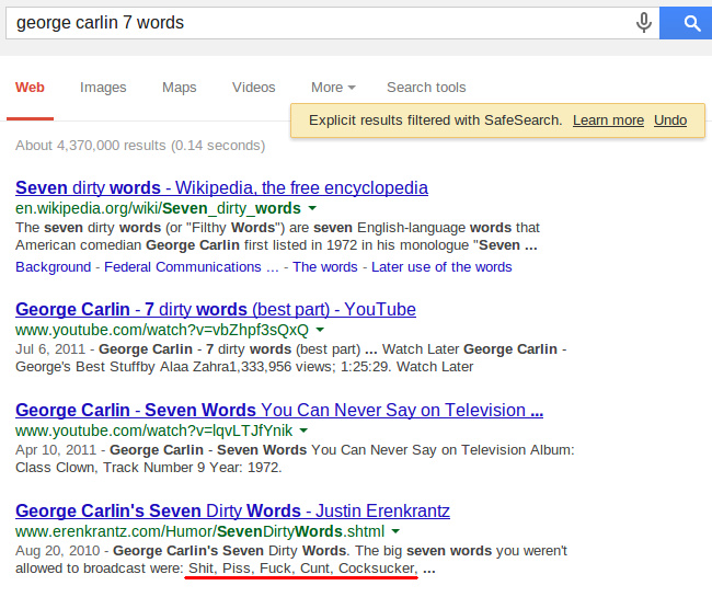 Google SafeSearch, george carlin seven words