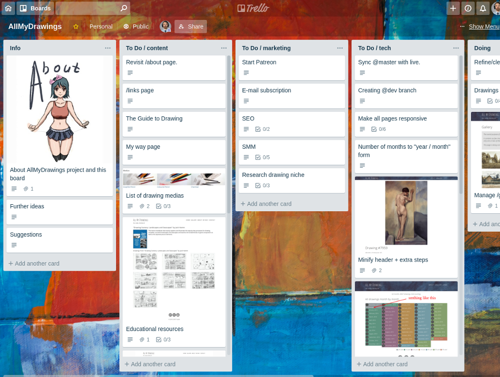 Trello board for allmydrawings project